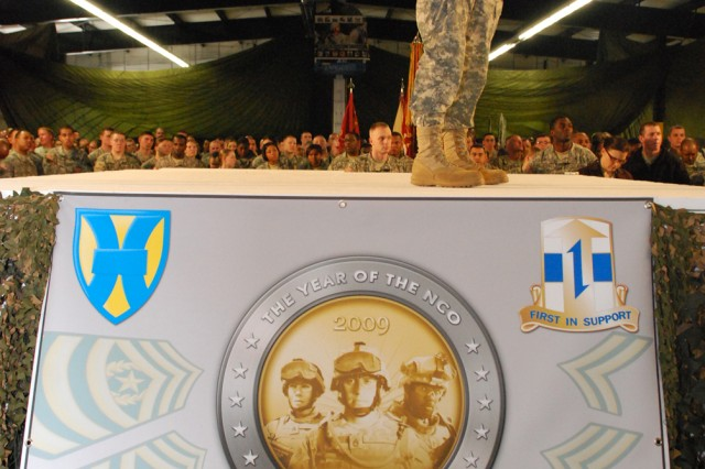 Sergeant Major of the Army addresses area servicemembers during Year of the NCO event in Kaiserslautern