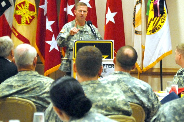 """Sgt. Maj. of the Army Kenneth O. Preston, the keynote speaker at the quarterly Association of the United States Army (AUSA) breakfast held Feb. 27 at The Commons at Fort McPherson, speaks to guests about the significance of the 2009 Army theme """"Year of the NCO.""""   Preston also addressed Soldiers at U.S. Army Forces Command."""
