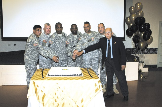 Celebrating The Year of the NCO, left to right, were Fort Buchanan Commanding Officer Col. Edwin C. Domingo; Maj. Gen. Charles E. Gorton, commanding general, 81st Regional Support Command; Command Sergeant Major Melvin Williams Recruiting Command; Command Sergeant Major Charles Durr, 81st Regional Support Command; Command Sergeant Major José Torres 402nd Civil Affairs Battalion (TAC); Command Sergeant Major David Davis, Fort Buchanan; Civilian Aide to the Secretary of the Army Maj. Gen. (Ret.) Felix A. Santoni.