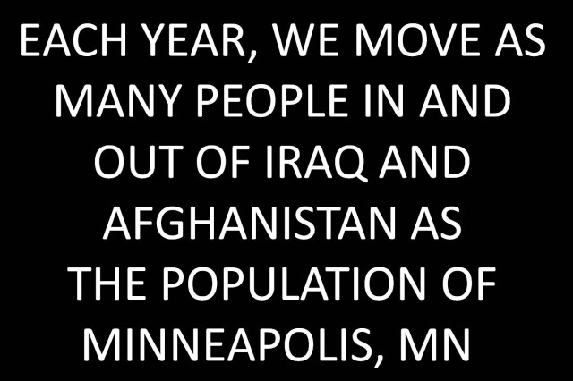 Each year, we move as many people in and out of Iraq and Afghanistan as the population of Minneapolis, MN.