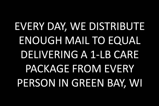 Every day, we distribute enough mail to equal delivering a 1-lb care package from every person in Green Bay, WI.