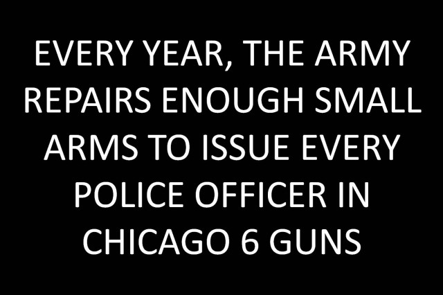 Every year, the Army repairs enough small arms to issue every police officer in Chicago 6 guns.