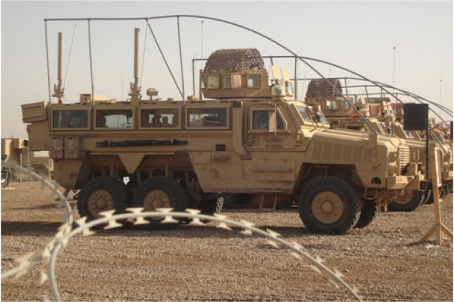 CREW antenna systems are mounted on military vehicles using flex-mount devices produced here.