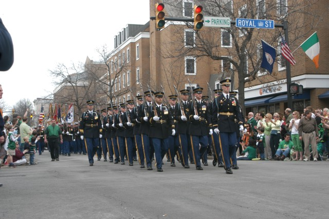 Soldiers from The Old Guard marched in the Old Town Alexandria, Va. St. Patrick's Parade on March 7, and will march in the DC parade on March 15.
