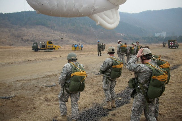 Special Operations Command Korea troops prepare for airborne jumps with a helium blimp and gondola at the ROK Drop Zone, March 5. The jump was an opportunity for SOCKOR augmentees that are assigned or attached during Exercise Key Resolve 09 to jump with active SOCKOR members.