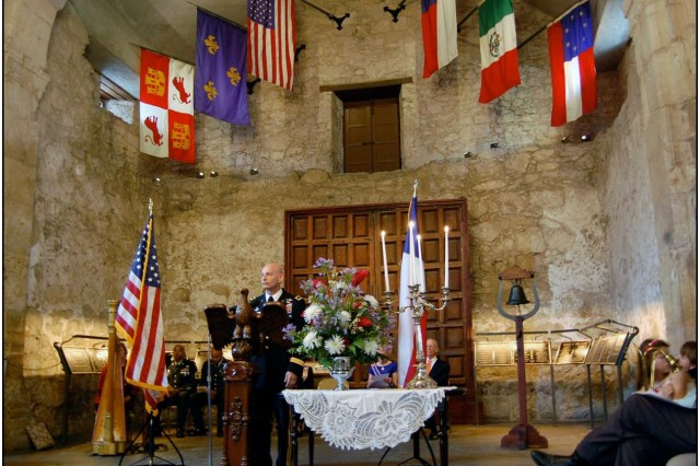Maj. Gen. Keith M. Huber, commander of U.S. Army South, speaks in the Alamo shrine at a ceremony honoring the famous battle of 1836.