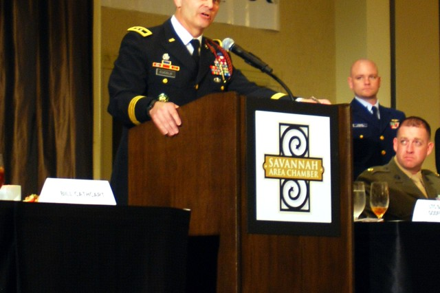Major General Anthony Cucolo, commanding general of the 3rd Infantry Division, speaks during the Savannah Chamber of Commerce Military Appreciation Luncheon, Feb. 27, at the Westin Savannah Harbor Golf Resort and Spa.