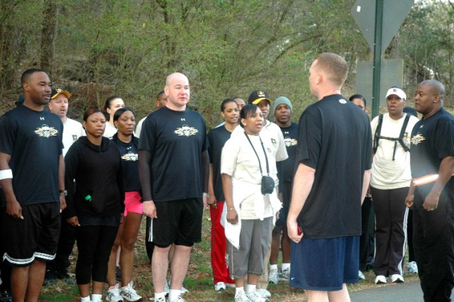FORT MCPHERSON, Ga. -- Sound off! More than 3o Soldiers from Forts McPherson and Gillem sound off with the Creed of the Noncommissioned Officer prior to running more than one mile to the top of Kennesaw Mountain. This was the second event hosted by USAG to build cohesion among the NCO Corps and celebrate the 2009 - Year of the Noncommissioned Officer.