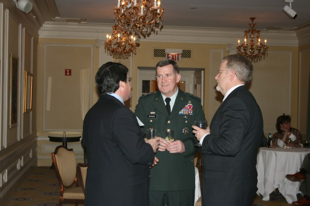 Chief of Army Public Affairs, Maj. Gen. Kevin Bergner, visits with the Director of Public Affairs Union League Club Chicago, David Kohn, and various Club members during a reception hosted by the Civilian Aide to the Secretary of the Army- Illinois, Maj. Gen. (Ret.) John Scully.  The reception was held at the Union League Club of Chicago, Wednesday, March 11, 2009.""