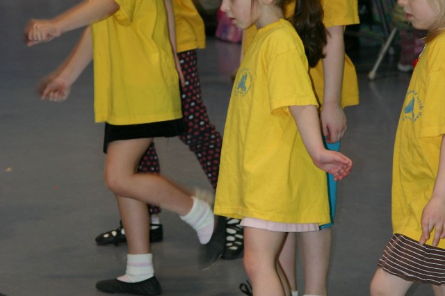 Students in Aine Halpin's Wee Ones Irish Step Dance class concentrate on their footwork in a recent class.