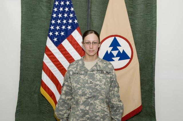 Pfc. Christina R. Disano, native of Brattleboro, Vt., and a motor transport operator for the 233rd Transportation Company, 391st Combat Sustainment Support Brigade, 16th Sustainment Brigade at Contingency Operating Speicher, Iraq, competed and won the 3d Sustainment Command (Expeditionary) Soldier of the quarter held at Joint Base Balad, Iraq, Feb. 20. (U.S. Army photo by Spc. Brian A. Barbour)