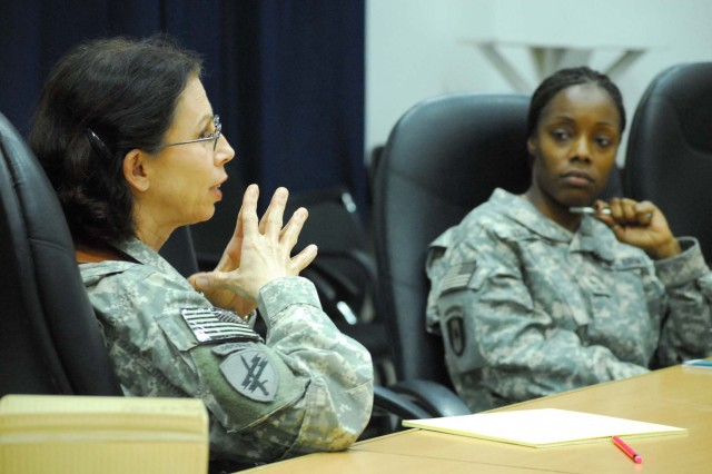 Unit victim advocates voice their needs to ensure a successful sexual assault prevention and response program during a visit from the Defense Task Force on Sexual Assault in the Military Services at Camp Victory March 11.