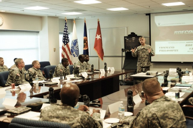 Maj. Gen. Paul S. Izzo, RDECOM Commanding General, discusses his command philosophy with his noncommissioned officers during their quarterly professional development meeting.