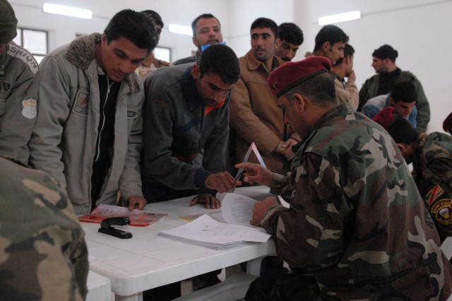 More than 90 Sons of Iraq from the Tikrit region registered to stay in the program as it transfer to the Iraqi government. The 1st Battalion, 14th Brigade, 4th Iraqi Division of the Iraqi Army, supported by Task Force Steel, 3rd Infantry Brigade Combat Team, 25th Infantry Division, conducted the registration and payment Mar. 1 at Forward Operating Base Remagen. The program transfers from U.S. to Iraqi funding and management May 1.
