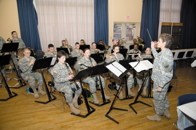 Sgt. Maj. Wendy Thomson and the U.S. Army Materiel Command Band provide patriotic music for the installation's NCOs during the Year of the NCO kickoff at the Aberdeen Area Recreation Center Feb. 24.