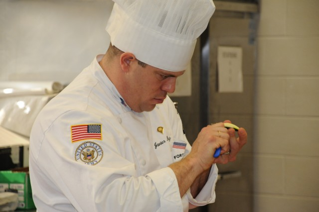 """Announced March 13 at the conclusion of the 34th U.S. Army Culinary Arts Competition, Spc. Javier Muniz, from Fort Bragg, N.C., won the 2009 Armed Forces Junior Chef of the Year award, with a score of 36.14. Along with the gold medal, he received a knife set, one week of culinary training at the Culinary Institute of America and the text book, """"The Professional Chef Edition 8."""" The requirement for this event was to prepare a three-course meal from a market basket of ingredients in a four-hour time limit."""