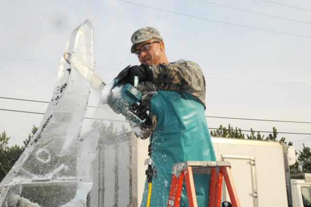 Staff Sgt. Jose Hernandez, Fort Buchannan, Puerto Rico, earned the award for Best Ice Carving in Show, during the 34th U.S. Army Culinary Arts Competition at Fort Lee, Va., Feb. 28 - March 13.