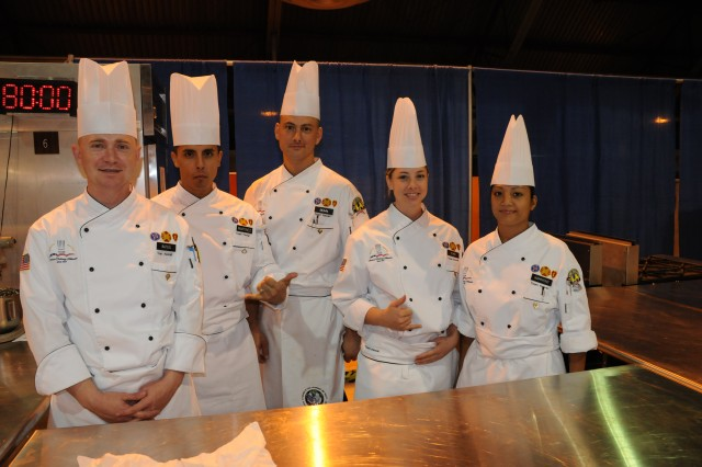 Team Hawaii earned first place in the Student Team Skills Competition, with Spc. Christopher Bohn, Spc. Ashley Schei, Spc. Christopher Bates and Pfc. Fernando Martinez. This was one of several events open to public viewing during the 34th U.S. Army Culinary Arts Competition at Fort Lee, Va., Feb. 28 - March 13.