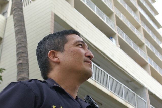 Command Sgt. Maj. David Yamamoto recalls events that took place in September 2008 at a Waikiki parking structure, recently.