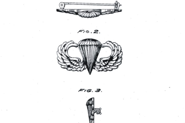 Shown are the illustrations submitted for award of a patent for the parachutist badge as recorded in design patent  no. 134,963, issued 2 February 1943 to W. P. Yarborough.  [U.S. Patent and Trademark Office,  http://www.uspto.gov/]
