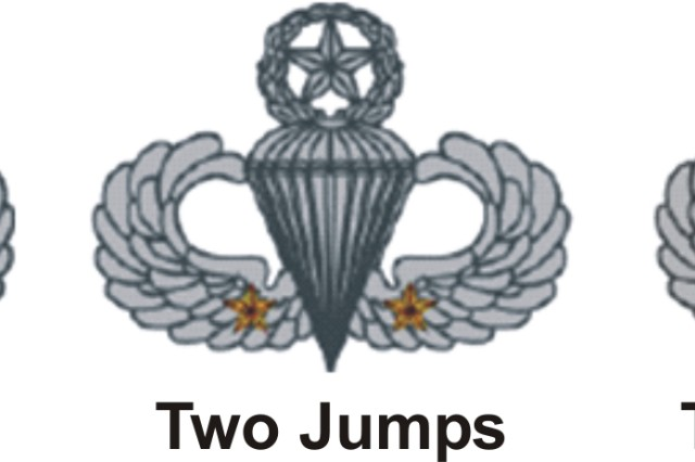 Combat Jumps! This illustration shows Bronze-colored stars representing participation in combat jumps and a gold star for five combat jumps—long worn unofficially on wings—were approved by Headquarters, Department of the Army on December 14, 1983.