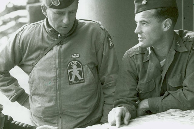 The Creator! Shown is Lieutenant Colonel William P. Yarborough in 1944, commanding the 509th Parachute Infantry Battalion, wearing the parachutist badge he designed in 1941. (Carlos Alden Photograph Collection).