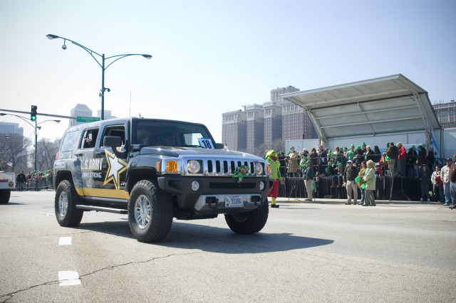 "An ""Army Strong!"" Humvee, from the Chicago Recruiting Battalion, drives down Columbus Ave. during the 54th Annual St. Patrick\'s Day Parade in downtown Chicago, Saturday, March 14, 2009."