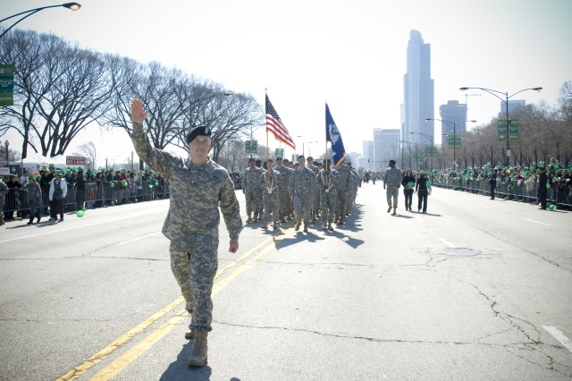 Sgt. David Obray, 2009 Soldier of the Year, marches in Chicago\'s 54th Annual St. Patrick's Day parade, Saturday, March 14, 2009. 2009 has been declared the Year of the NCO.