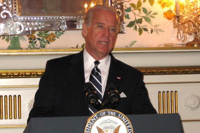 U.S. Vice President Joe Biden addresses Tri-Missions and U.S. Army Garrison Brussels personnel at the U.S. ambassador's Belgian residence March 10.