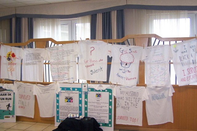 The U.S. Army Garrison Kaiserslautern's Sexual Assault Prevention and Response Program sponsors the Clothesline Project from March 30 to April 30 at Army dining facilities on Landstuhl Regional Medical Center, Kleber Kaserne and Rhine Ordnance Barracks. The Clothesline Project is a program is a vehicle for women affected by violence to express their emotions by decorating a T-shirt. These shirts will be hung on a clothesline to be viewed by others as testimony to the problem of violence against women.