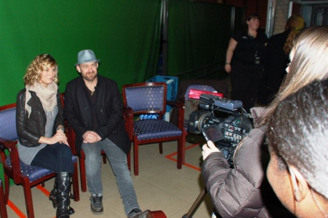 Sugarland's Jennifer Nettles and Kristian Bush hold an exclusive interview with an American Forces Network Benelux crew before going on stage to perform in a concert at the Sporthal Rumpen in Brunssum, Netherlands, March 13. You can watch the American Forces Network Benelux report at http://benelux.afneurope.net/Home/ArticleDisplayDD/tabid/655/aid/7306/Default.aspx