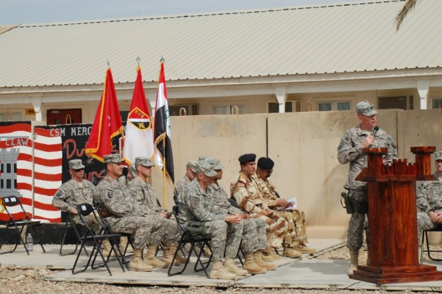 CAMP LIBERTY, Iraq - On March 18, dignitaries from the 225th Engineer Brigade, the 46th Engineer Battalion and the 6th Iraqi Army listen to Lt. Col. Joe D. Hargett, commander of the 890th Eng. Bn., as he makes his parting speech during the Transfer of Authority ceremony on Camp Liberty.