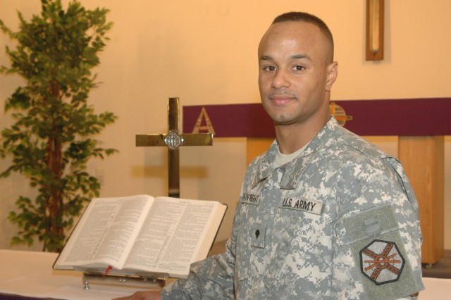 "Spc. Jason Boatwright, a chaplain assistant assigned to U.S. Army Garrison Heidelberg, Germany, said his early success in the military came from noncommissioned officers who ""made it their personal goal to see that I excel and to achieve the goals that I strive for."""