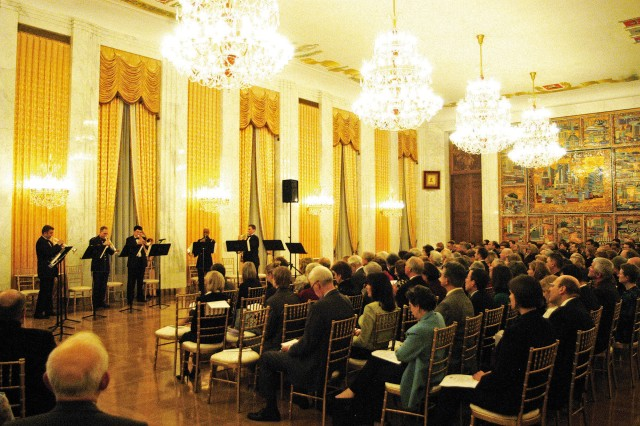 A quintet from the Russian National Orechestra performs music from the private collection of the czars that had not been heard in 100 years.  The Russian musicians were joined by a quintet from the U.S. Army Band to perform some of the music March 17 at the Russian Embassy in Washington, D.C.