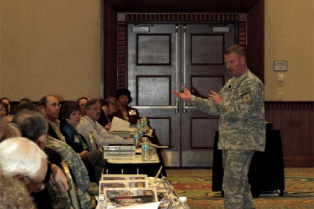 Sergeant Major of the Army Kenneth O. Preston speaks to attendees of the 8th Annual Army Training Support Center Distributed Learning Workshop March 10 at the Marriot at City Center, Newport News. Preston, the keynote speaker for the event, celebrated the Army's Year of the Noncommissioned Officer observance by unveiling a new video of Army NCOs speaking of what being an Army NCO means to them.