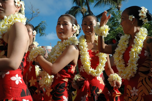 WAIKIKI, Hawaii - Dancers from the Leilani Hula Studio line up before walking in the grand parade, March 15. The studio was one of more than 100 performances that took place throughout the weekend during the Honolulu Festival.