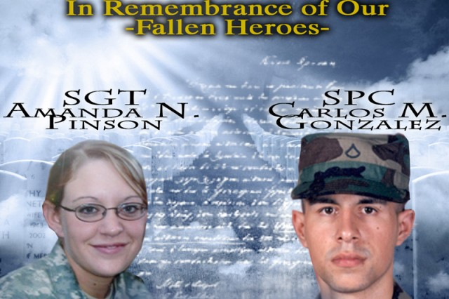 Sgt. Amanda N. Pinson and Spc. Carlos M. Gonzalez, military intelligence Soldiers, lost their lives to a rocket attack in support of Operation Iraqi Freedom, at Contingency Operating Base Speicher, near Tikrit, Iraq, March 16, 2006. The sacrifice of these Soldiers is remembered annually on COB Speicher by Soldiers with the G-2 intelligence section. (Photo illustration courtesy of I&S, G-2 Operations)