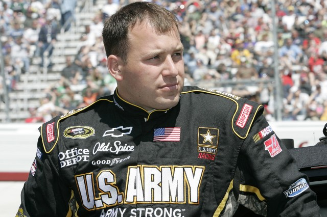 Army NASCAR driver Ryan Newman eyes the competition at Bristol Motor Speedway Sunday where he finished the Food City 500 in seventh place.