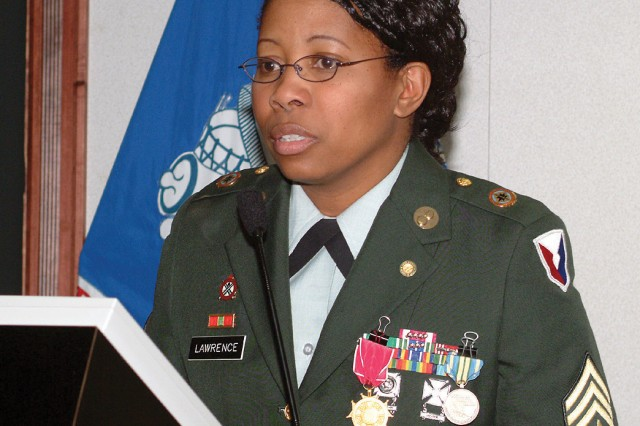 Elizabeth Lawrence retired from the Army in 2005, after serving as the depot's sergeant major.