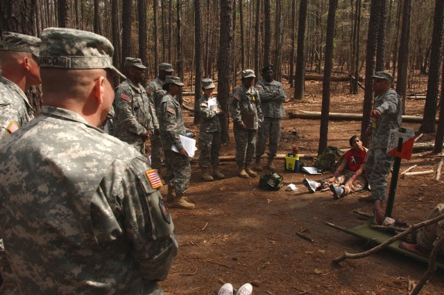FORT JACKSON, S.C. - Command Sgt. Maj. Luis Blanco, left, senior enlisted Soldier assigned to the 81st Regional Support Command, based here, oversee the warrior tasks portion of the 81st RSC's Best Warrior Competition held here March 20-22. The competitors were competing for spots in next month's regional competition held here.