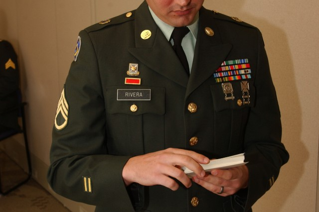 Staff Sgt. Renaldo Rivera, 81st Regional Support Command, based at Fort Jackson, S.C., reviews his notes prior to the oral board portion of the 81st RSC's Best Warrior Competition held here March 20-22. The competitors were competing for spots in next month's regional competition held here.