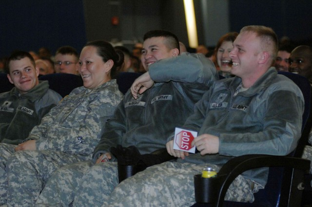 "It was okay to laugh during the ""Sex Signals"" Soldier training held Tuesday in the Galaxy Theater on Vogelweh in Kaiserslautern."