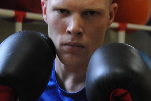 HHC, 49th Quartermaster Group's Sgt. Daniel Sheninger has boxed for only a few years, has less than 10 bouts to his name but wants to fulfill a dream to make the All Army Boxing Team. He said he is hungry, determined and downright dogged to reach his goal.
