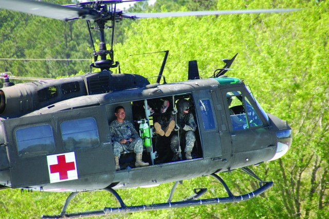 A 5th Aviation Battalion medevac helicopter lifts off after transporting casualties to Bayne-Jones Army Community Hospital during a mass casualty exercise March 18. The exercise tested the post's ability to handle a terrorist attack.