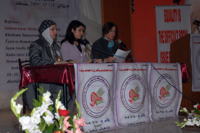 Speakers take part in women's rights conference at Narwooz Hall in Kirkuk city March 14. The speakers discuss the struggles that women have endured to improve their rights. They also discuss the challenges and benefits of women having more political power in the region.
