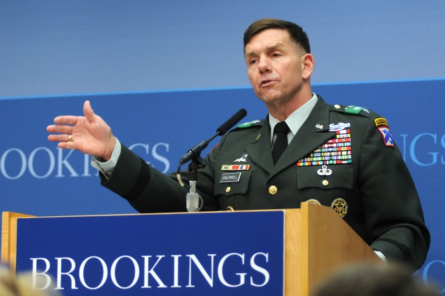 "Lt. Gen. William B. Caldwell IV, commander, Combined Arms Center, Fort Leavenworth, Kan., speaks March 27, at the Brookings Institution in Washington, D.C., about the significance of Army Field Manual 3-07, ""Stability Operations."""