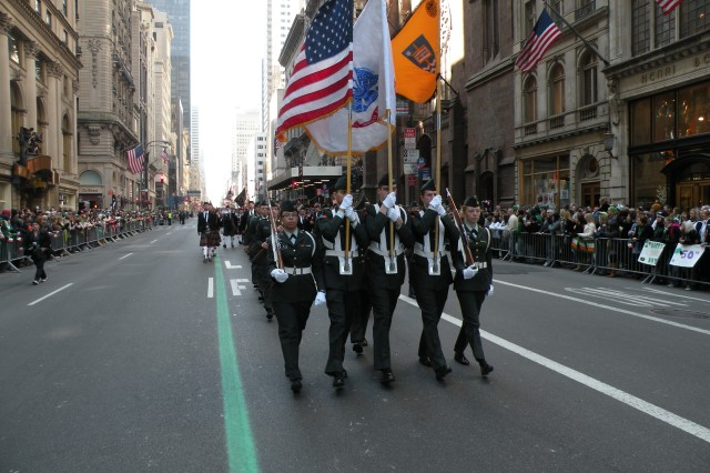ROTC Cadets from the University of Notre Dame, Fighting Irish Battalion, march in the 248th New York City St. Patrick's Day parade, Tuesday, March 17, 2009.  The parade is one of the largest in the nation; 150,000-200,000 march in front of an estimated 2 million spectators lining Fifth Avenue.