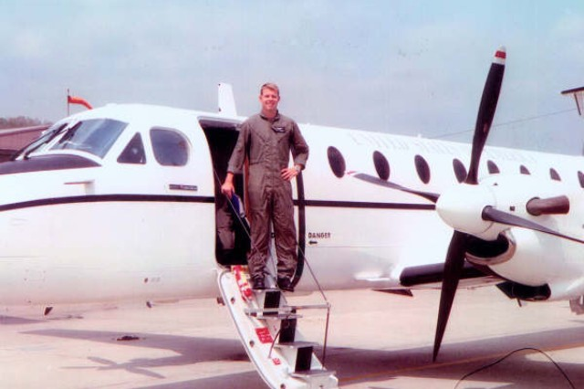 Captain Kevin Norman is pictured as a C-12 pilot.