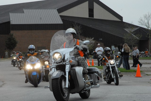 125 motorcyclists roll out of the parking lot of the MG Robert B. Solomon Center Tuesday for a 17-mile ride around Fort Jackson. The ride was the culminating event of the annual Victory Thunder Motorcycle Rally to promote motorcycle safety.