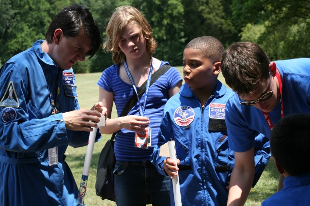 All of the 2008 Space Camp scholarship winners had the opportunity to create their own model rocket. In this photo, they are preparing to test them for flight.